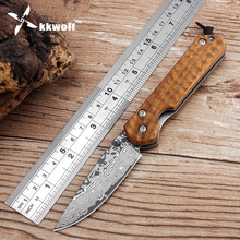 KKWOLF outdoor camping survival hunting tactical knife carving Cocobolo handle Damascus folding knife Pocket knives free shippin