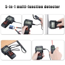 Excelvan 5-in-1 Multi-function Detector Distance Meter with Laser Pointer Moisture DC Volt Meter Metals/AC Live Wires Detector