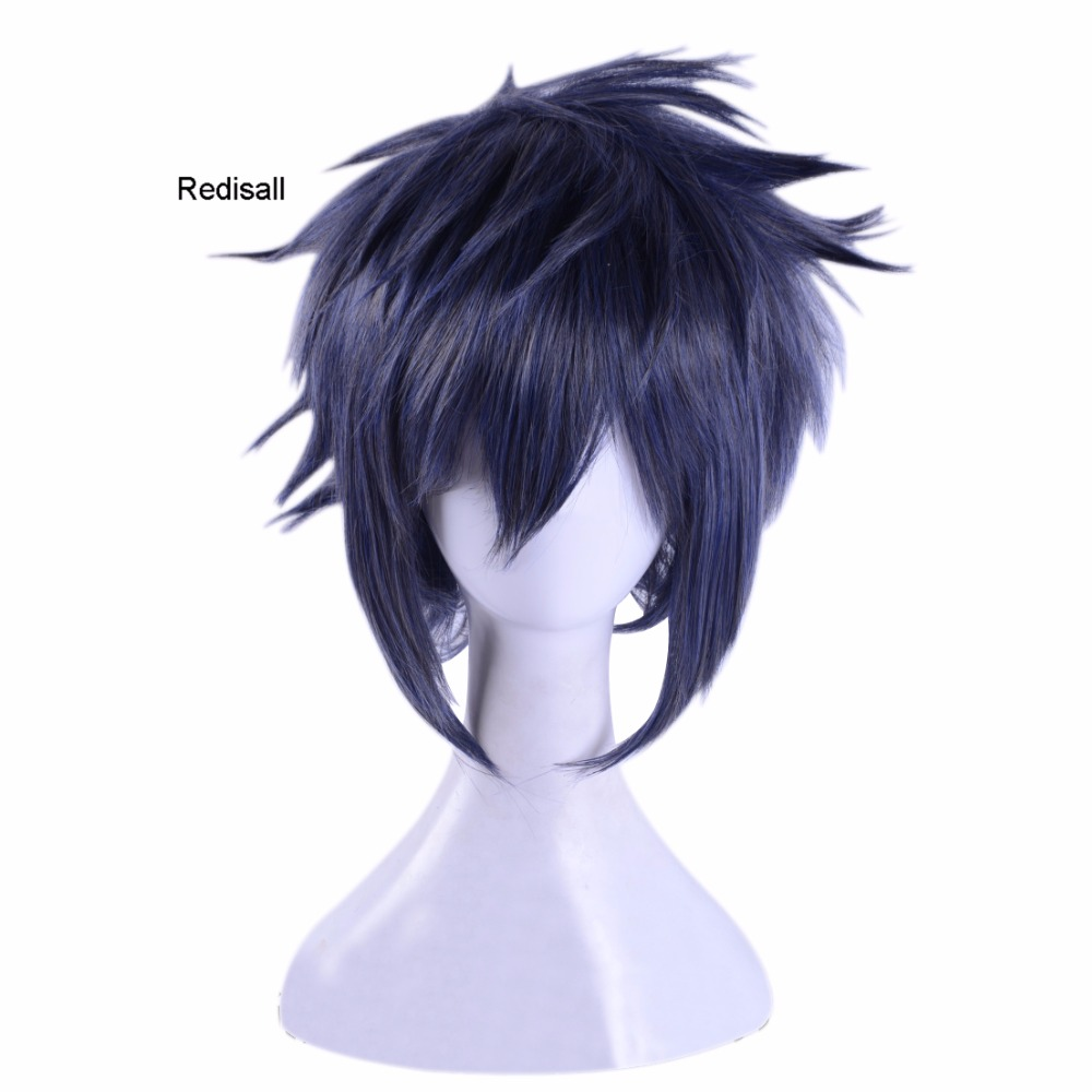 FF15 Final Fantasy XV Noctis Lucis Caelum Dark Blue Mixed Color Wig Cosplay Wig Short SyntheticHair Halloween