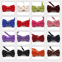 Men Solid Knitted Crochet Polka Dot Bowtie Wedding Party Adjustable Bow Tie  BWTYF0072