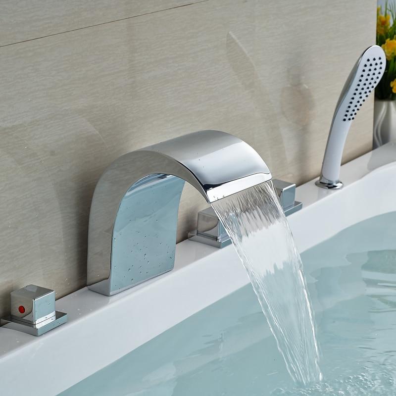 Deck Mount 5 Holes Bathtub Faucet Bathroom Waterfall Tub Mixer Tap + Handshower Chrome Finish Deck Mount<br><br>Aliexpress