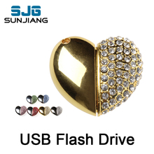 new arrival metal heart usb flash drive 4gb 8gb 16gb 32gb 64GB flash memory stick disk pendrive pen drive fashion cool gift(China)