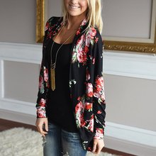 Autumn Women Casual Outwear Boho Irregular Long Sleeve Wrap Cardigans Loose Floral Print Basic Coats Tops Casacos Plus Size a12