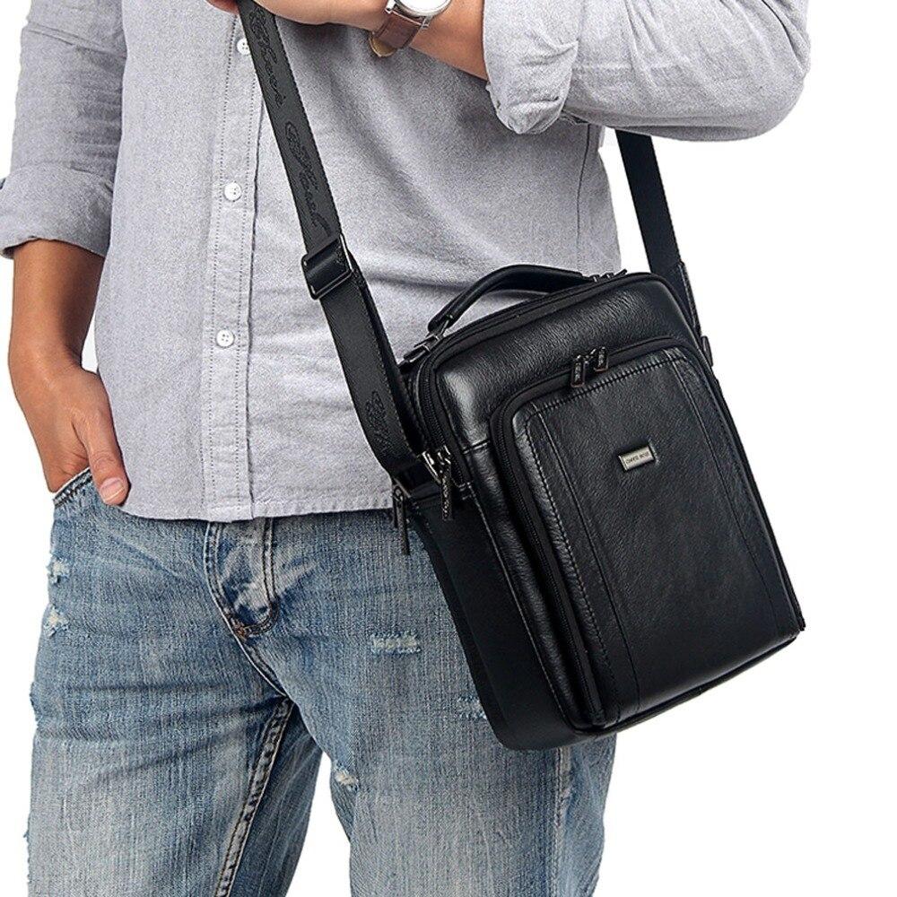 Mens  Handbags Genuine Leather First layer Cowhide fashion Handbag Vintage Shoulder Messenger Bags Business Bag<br>