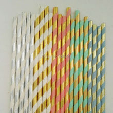 Gold and Mint Blue Coral Paper Straws Striped Party Supplies Party Decor Bar Accessories Foil Gold Drinking Tableware Straws