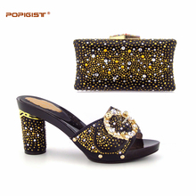 Colorful African set shining Diamond Wedding Shoe Matching with Elegant Dinner bags Shoe and bag matching for parties Woman Shoe