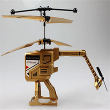Hot selling ABS plastic Mini 3.5 CH RC Transform Chopper Fold-up Helicopter Toy Kids Gift Gold  Helicopter+Transmitter