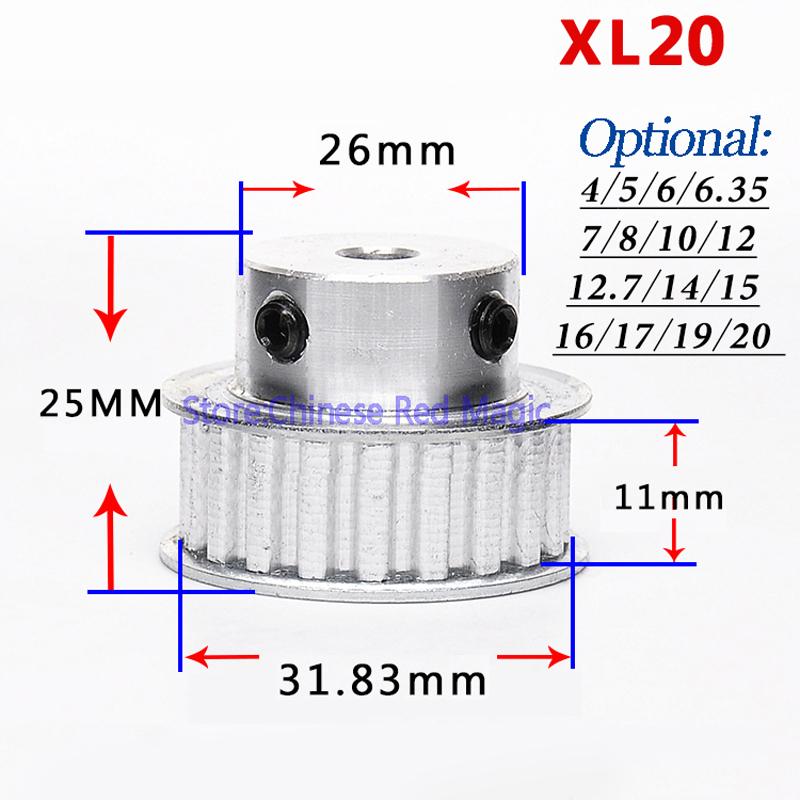 XL16-XL17-XL18-XL19-XL20-16-20tooth-Timing-Pulley-Aluminum-3D-Printer-Parts-XL-teeth-Bore (3)