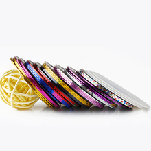 12Pcs Multicolor Mixed Colors Rolls Striping Tape Line Nail Art Decoration Sticker DIY Nail Tips(China)