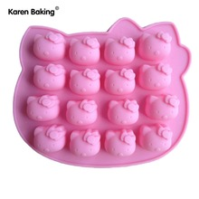 Pink Hello kitty Shape Fondant Cake Pan Silicone Mold Sugar Craft Baking Pan Cake Decoration B161(China)