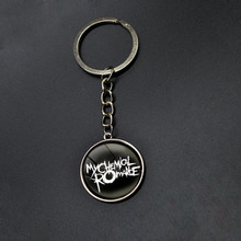 Popular Band Rock My Chemical Romance Series Keychain Glass Cabochon Keyring Time Gem Pendant Key Holder Bag Purse Accessories(China)