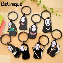 Creative Japanese Korea Cartoon Cute Faceless Ghost Anime PVC Keychain Small Halloween Gifts Bag Keyring Tag Wholesale 10pcs/lot