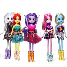 5 pieces / set very cute gift little pvc figures horse mlp ponies plush doll toy --Twilight Sparkle Rainbow(China)