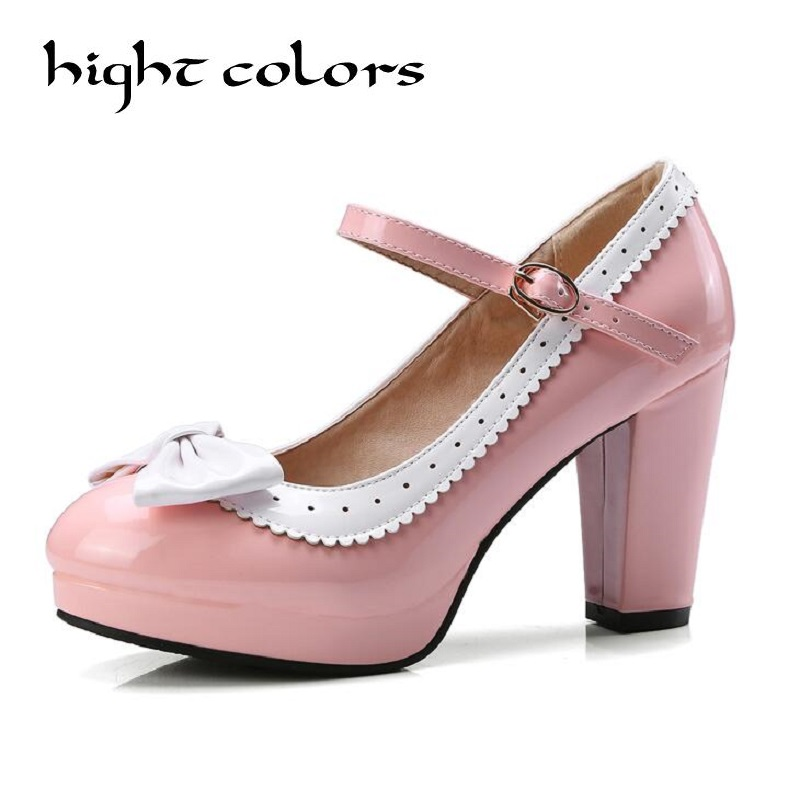 2018 Spring Sweet Women Pump High Thick Square Heel Patent Leather Candy Color Buckle Strap Cute Bow Ladies Shoes<br>