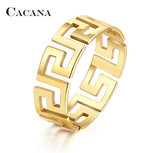CACANA Stainless Steel Rings For Women Hollow Out Golden Decorative Pattern Fashion Jewelry Wholesale NO.R165