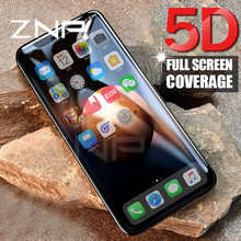 ZNP 5D Curved Premium Tempered Glass For iphone 8 7 6 6s Plus X Full Cover Screen Protector Film for iPhone X 10 8 7 6 6s Glass(China)
