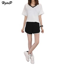 HziriP European Women 2 Piece Set Tracksuits Ladies Suits Tops Tee Shirts And Hot Shorts 2017 Summer Casual Sportswear Plus Size