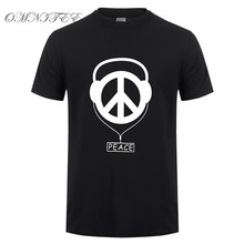 Omnitee New Fashion Peace Logo T Shirts Men Hip Hop Summer  Short Sleeve Cotton O-neck Fashion Peace T-shirts Tops OT-534