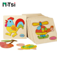 N-Tsi Baby Wooden Puzzle Toys for Toddlers Interactive Jigsaw Educational Kids Toys For Children Game Cartoon Animal Gift(China)