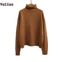 2015 Autumn and Winter Vintage Women Sweater Long Sleeve Loose Turtleneck Knitted Pullover Army Green Sweaters Crop Top(China)