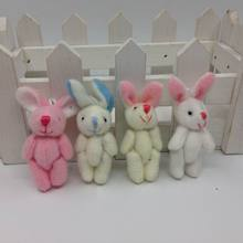 "4.5cm(1.8"") Plush Mini Rabbit Joint Bare Pendants Stuffed Bunny For Key chain/Bouquet/Mobile Phone/Bag Dolls soft Toys(China)"