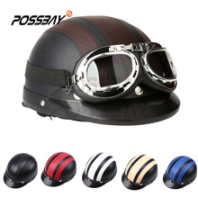 POSSBAY Leather Motorcycle Helmet Scooter Open Face Half Helmet Retro Vintage Style Goggle Glassess For Security Racing Heltmets