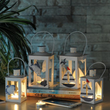 1PC Tin Lantern Candle Holders Mediterranean Style White Blue Creative Romantic Hurricane Lamp Candlestick Home Decor