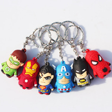 6pcs/lot The Avengers Keychains Pendants Spider man Super Man Iron Man Batman Captain America Green Lantern Mini PVC Figure Toys