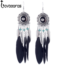 Buy LOVBEAFAS Feather Tassel Long Earrings Women Tiny Beads Leaves Charm Fashion Enamel Jewelry Vintage Bohemian Earrings bijoux for $1.45 in AliExpress store