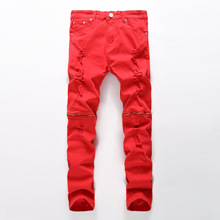 Red zipper decoration Skinny jeans men Ripped jeans Fashion Casual Slim fit Biker jeans Hip hop Denim elastic cotton trousers