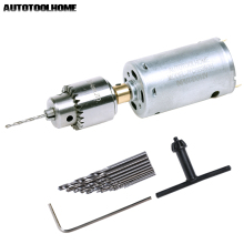 AUTOTOOLHOME Mini DC 12V Electric Hand Drill Motor PCB Press Drilling Compact Set 0.5-3mm Twist Bits 0.3-4mm JT0 Chucks Tool