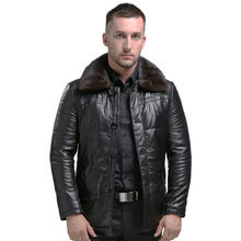 AIBIANOCEL 2017 Winter Genuine Leather Coat Men Thick Down Leather Coat Mink Collar Detachable Mens Leather Jacket White Duck(China)