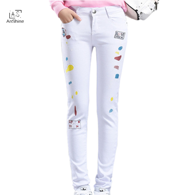 AnShine 2017 Spring New High Waist Embroidery White Jeans Female Stretch Slim Pencil Trousers Skinny Distressed Woman PantsОдежда и ак�е��уары<br><br><br>Aliexpress