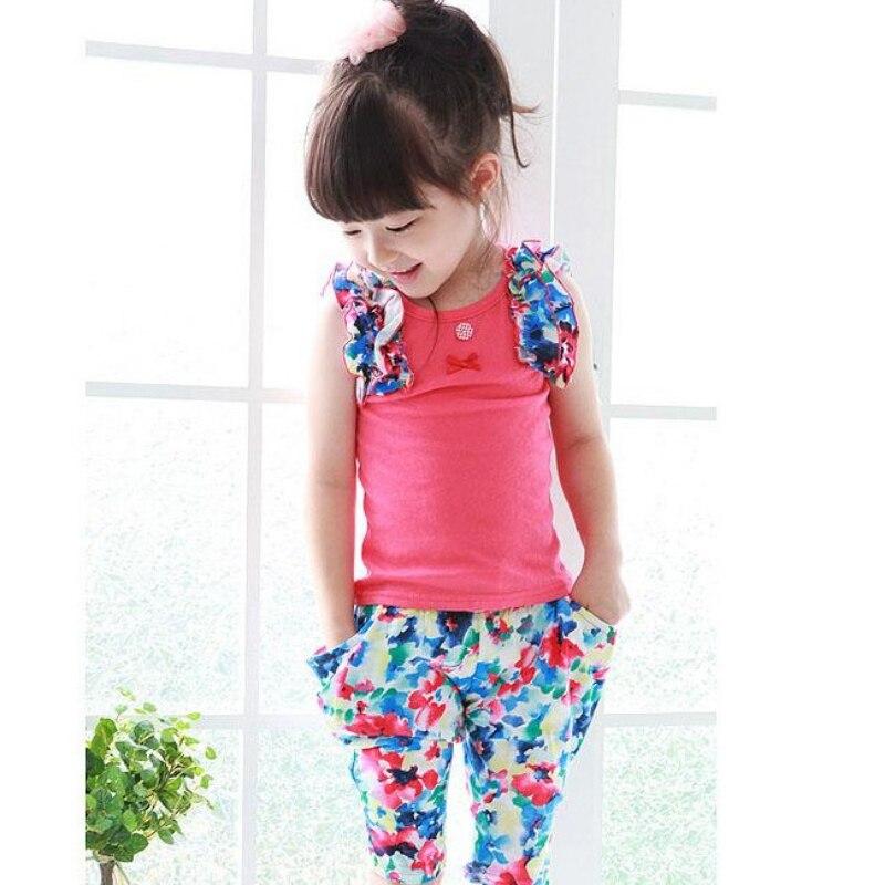 Baby Girls Summer Suits Sleeveless Vest Shirt Cute Floral Harem Pants Floral Sets<br><br>Aliexpress