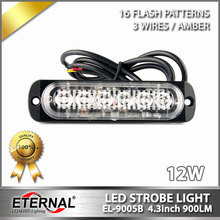 10pcs super slim 4.3inch 12W amber LED strobe emergency light,automotive led signal safety emergency light bars 12V 24V lamp