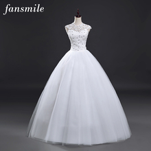 Fansmile Real Photo Cheap Short Sleeve Wedding Dress 2016 Lace Vintage Plus Size Princess Bridal Vestido de Noiva Ball Gown