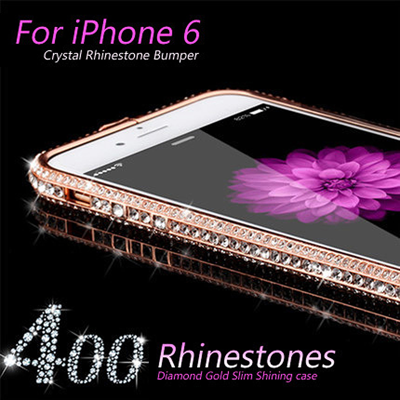 GULYNN Luxury Crystal Rhinestone Bumper Frame iPhone 5 5s se Diamond Gold Slim Shining Bling Metal Case iPhone 6 6s PLUS