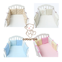 6 pieces Infant Crib Bumper Baby Kids Cotton Cot Nursery bedding for boy and girl Bed Protector Liner(China)