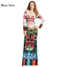 Price-off Promotion ! Aramex Free shipping Charming Printed Stretch Jersey V-neck Long sleeve Maxi Dress Long Dress 0914EP321C