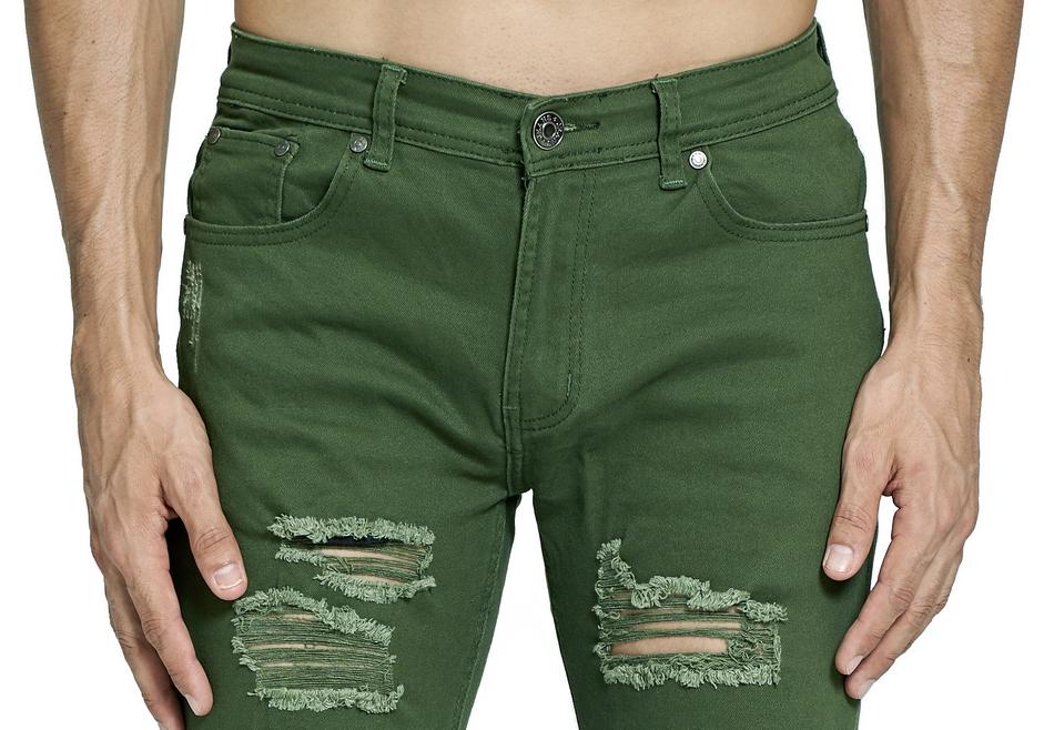 HTB1SBvCcbwTMeJjSszfq6xbtFXaZ Army Green Ripped Jeans Fashion