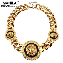 MANILAI Fashion 3 Metal Lion Head Chunky Acrylic Chain Necklace Statement Jewelry Bib Collar Chokers Necklaces Gold Color Bijoux