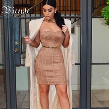 Free Shipping! 2017 New Fashion Tan Suede Strapless Tube Mini Party Celebrity Wholesale Women Dress
