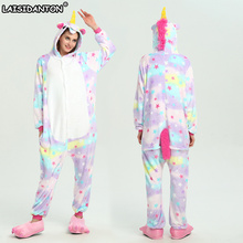 LAISIDANTON Adult Halloween Star Unicorn Pajamas Sets Anime Cartoon Cosplay Costume Onesie Winter Unisex Hooded Women Sleepwear(China)