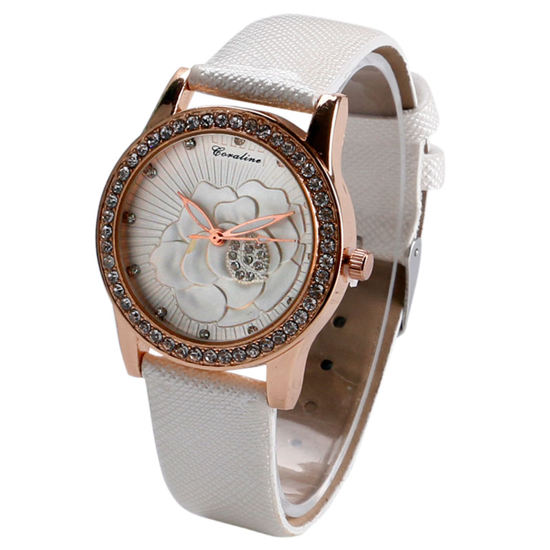 Classic Stylish Elegant Flower Pattern Wrist Watch Quartz Crystal White Leather Band Women Clock Ladies Gift W224402<br><br>Aliexpress