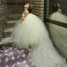 Fashion Children Champagne Wedding Dress With Train Tulle Flower Girl Dresses Up Strapless Formal Prom Party Girls Dress W016(China)