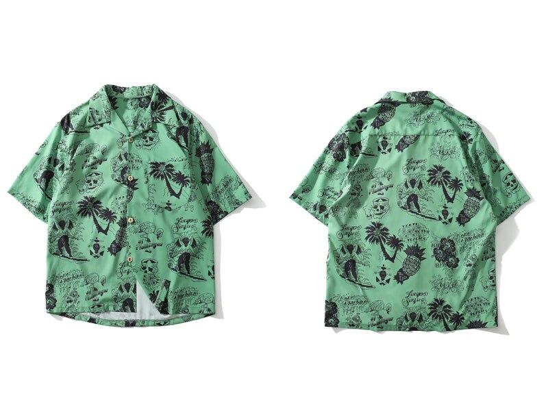 Graffiti Flamingo Palm Tree Pineapple Skull Print Shirts 1