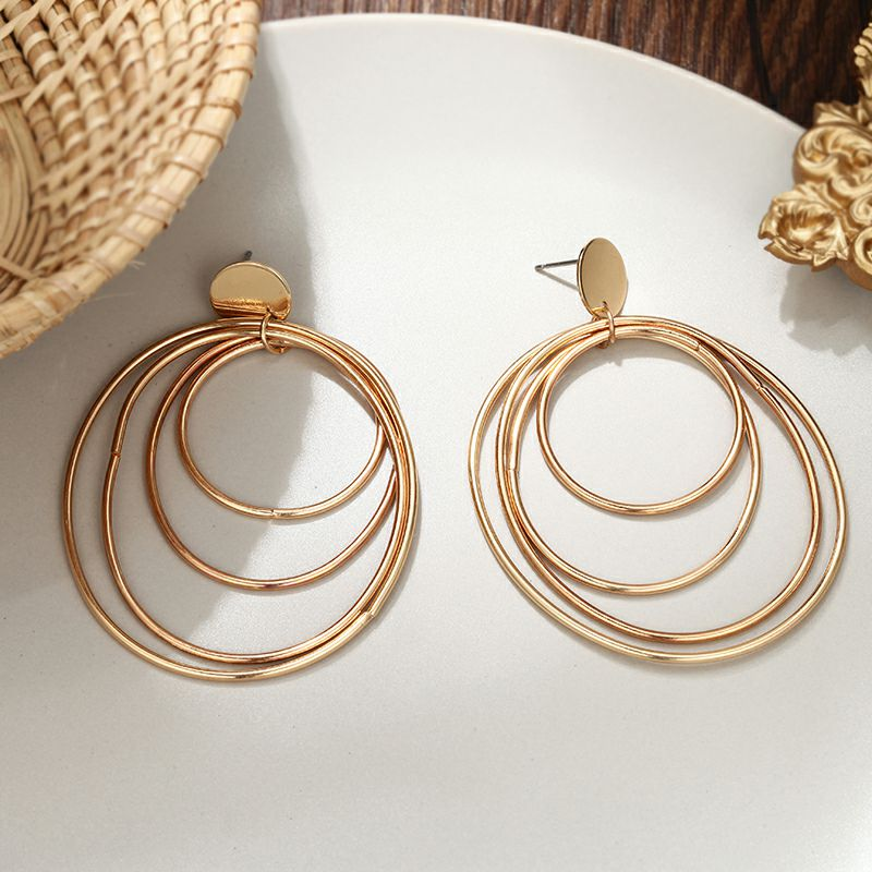 European and American style Earrings for Woman 19 Big Four Layers Ring Earrings Gold color Gifts for Friends Confidante 3