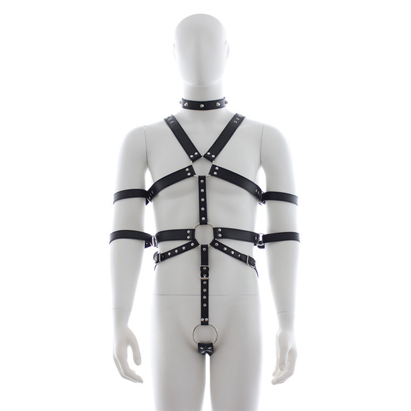 Adults Game Male Bondage Restraints Leather Bondage Gear Harness Slave Body Chastity Cock Ring Sex Restraint Toys for Men<br>