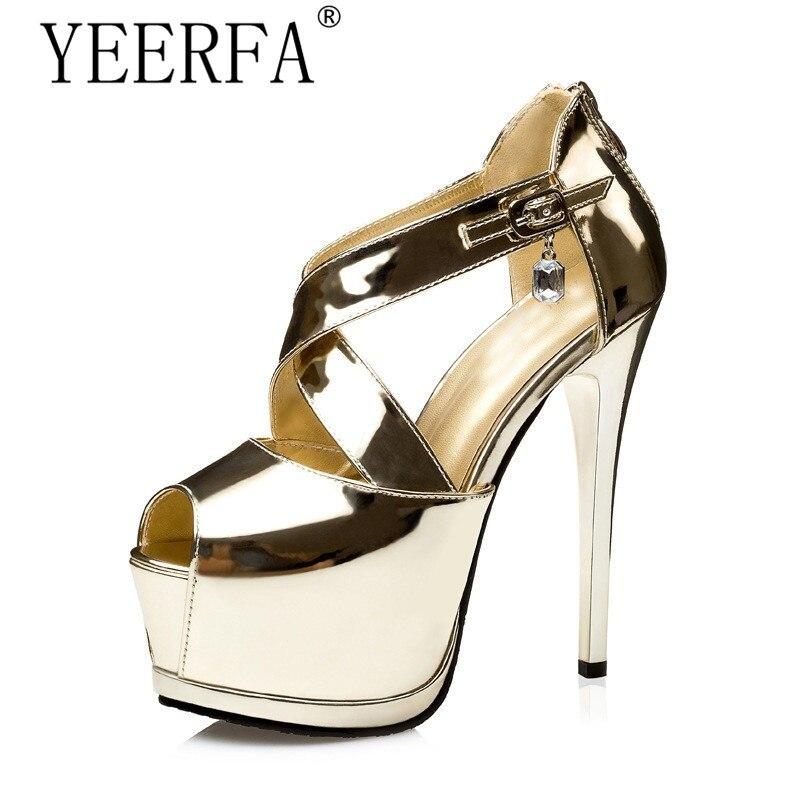 YEERFA gold black silver women metallic rhinestone cross strap pump platform sandals ultray very high heel cut out roman shoes<br>