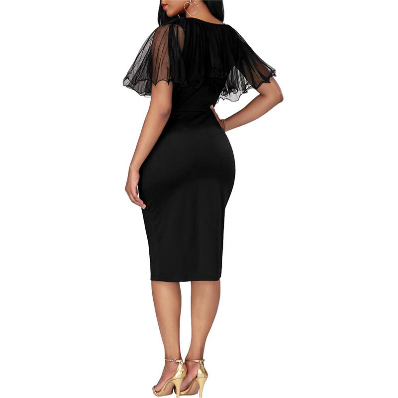 Adogirl Black Mesh Cape Bodycon Party Dresses Elegant Ladies Pencil Office Dress High Quality Cheap Work Wear Vestido De Festa 7